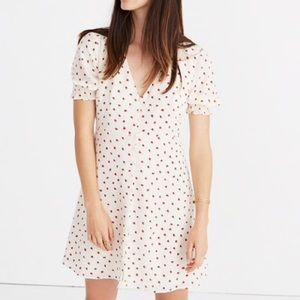 Madewell Silk Strawberry Button Down Dress